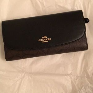 Coach Signature PVC and Leather Checkbook Wallet